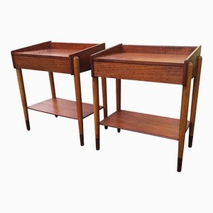 Teak & Beech Bedside Tables by Børge Mogensen, Set of 2