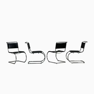 Bauhaus Black Leather Model MR10 Cantilever Chair from Thonet