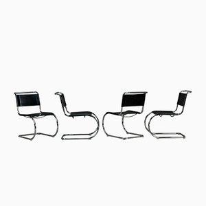 Chaise Cantilever Modèle MR10 Bauhaus en Cuir Noir de Thonet