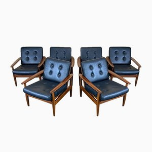 Danish Teak and Leather Easy Chairs, 1960s