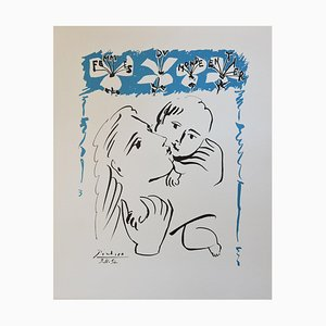 Pablo Picasso (nachher) - Maternal Love Lithographie - signiert, 1980er