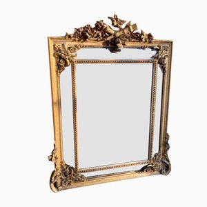 Antique French 19th-Century Carved Wood & Gesso Gilt Mirror