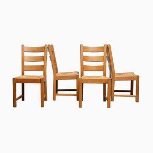 Niederländische Esszimmerstühle aus Eiche mit Geflochtenen Sitzen, 1979er, 4er Set