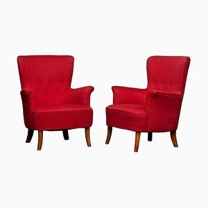 Fuchsia Lounge Chair by Carl Malmsten for Oh Sjögren, 1940s, Set of 2