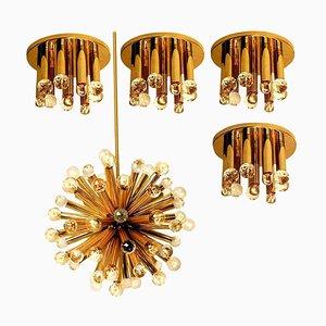 Gilt Brass Chandeliers with Swarovski Balls by Ernst Palme for Palwa, 1960s, Set of 5