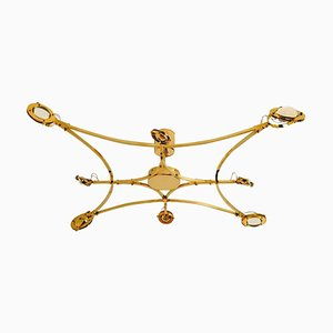 Large Solid Brass and Glass Jewel Flushmount Chandelier