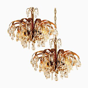Crystal Glass Gilt Brass Chandelier from Palwa, 1960s, Set of 2