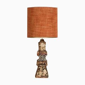 Keramiklampe von Bernard Rooke mit Maßgefertigtem Lampenschirm aus Seide von René Houben, 1960er