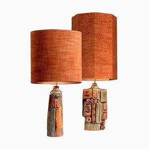 Ceramic Lamp by Bernard Rooke with Custom Made Lampshade by René Houben, Set of 2