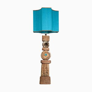 Ceramic Floor Lamp by Bernard Rooke with Custom Made Lampshade by René Houben