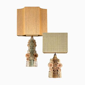 Ceramic Lamps by Bernard Rooke with Custom Made Lampshade by René Houben, Set of 2
