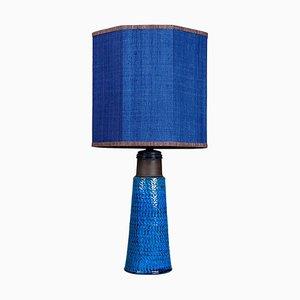 Bitossi Keramik Tischlampe mit Neusilber Lampenschirm René Houben, 1960er
