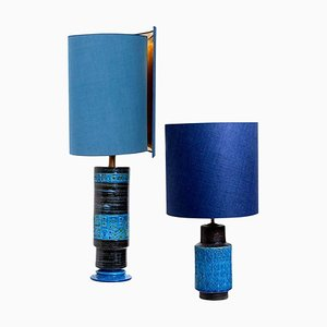 Bitossi Table Lamps with New Silk Custom Made Lampshades by René Houben, Set of 2