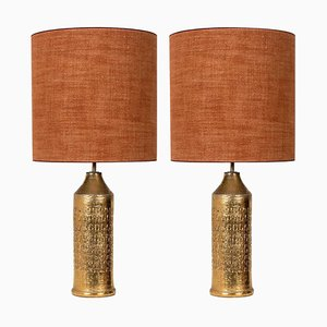 Bitossi Lamps from Bergboms with Custom Made Silk Shades by Rene Houben, Set of 2