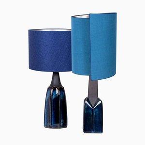 Soholm Tischlampen mit neuen maßgeschneiderten Lampenschirmen aus Seide von René Houben 1960, 2er Set