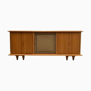Large Brutalist Style Sideboard with Slatted Front by De Coene, 1940s, Belgium