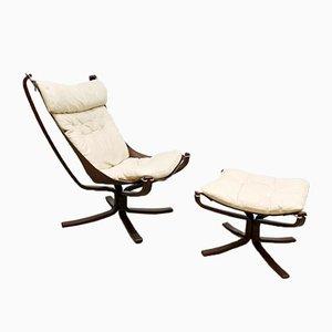 Vintage Falcon Easy Chair und Fußhocker von Sigurd Resell für Vatne Møbler