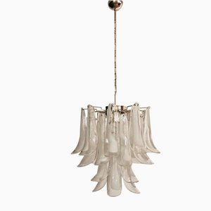 White Murano Chandelier in the Style of Mazzega