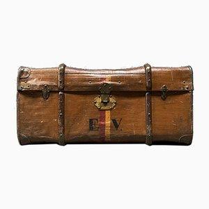 Antiker brauner Koffer mit Holzschlitten