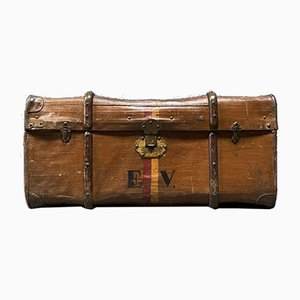 Antique Brown Suitcase with Wooden Sleds