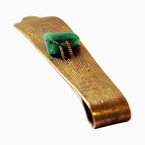 Mid-Century Brass and Stone Tie Pin in the Style of Anna Greta Eker, Norway, 1960s