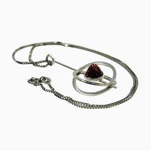 Silber-Tropfen-Halskette-Halsketten-Anhänger von Elis Kauppi für Kupittaan Kulta, Finnland, 1973