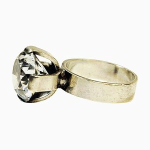 Brilliant Cut Crystal Stone Silver Ring by Ceson Guldvare, Gothenburg, Sweden, 1967