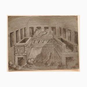 Unknown - Interior - Original Bleistift und Kreide auf Papier - Frühes 20. Jahrhundert