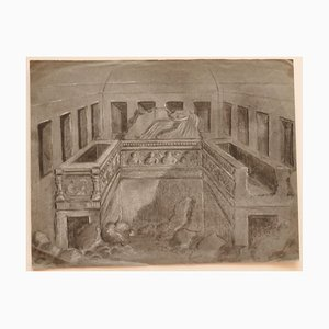 Unknown - Interior - Original Pencil and Chalk on Paper - Early 20th Century