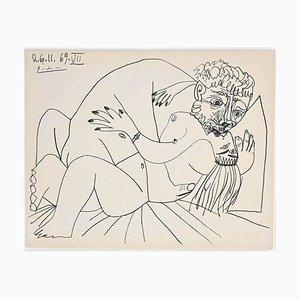 Pablo Picasso - the Kiss from Avignon - Original Lithograph - 1972