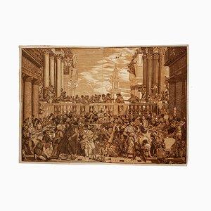 John Baptist Jackson - Hochzeitsfeier in Cana - Original Holzschnitt Druck - 1740