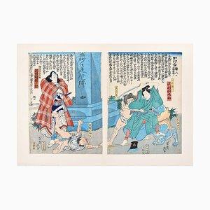 Ikeisai Yoshichika - Warriors - Original Holzschnitt - 1865