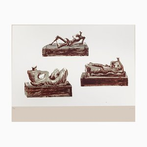 Henry Moore - Three Reclining Figures on Pedestals - Original Lithograph - 1976
