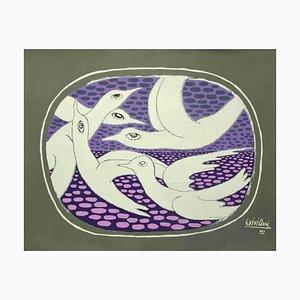 Giuseppe Viviani - Seagulls - Original Lithografie - 1962