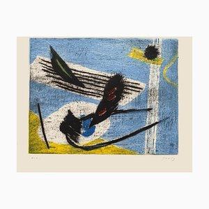 Gravure originale Henri Goetz - une Composition Surréaliste - 1970s