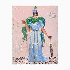 J. René Paulz - Circus Character - Original Tempera - Mid-20th Century