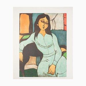 Domenico Cantatore - Sitting Woman - Original Lithografie - 1970er Jahre
