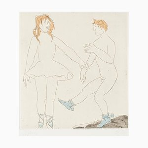 Unknown - Step of Dance - Gravure à l'Eau Forte Originale sur Papier par Giacomo Manzù - 1970s
