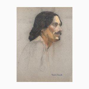 Albert Fernand-Renault - Porträt - Original Pastell und Kohle - Frühes 20. Jahrhundert