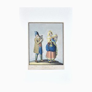Unknown - Costume of Bisaccia - Original Ink and Watercolor on Paper - 1830 Ca.