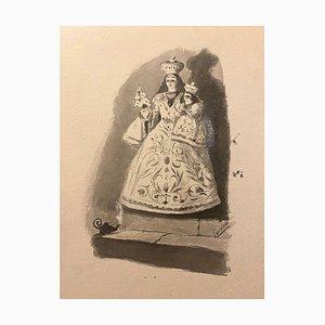 Florisa Cordova - Vierge à l'Enfant - Encre et Aquarelle - Milieu 20ème Siècle