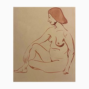 Jean Delpech - Nude of Woman - Original Watercolor - 1930s