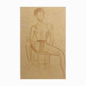 Jean Delpech - Portrait of A Boy - Original Zeichnung - 1930er