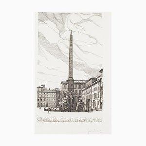 Giuseppe Malandrino - Brunnen der 4 Flüsse - Piazza Navona - Radierung - 1970