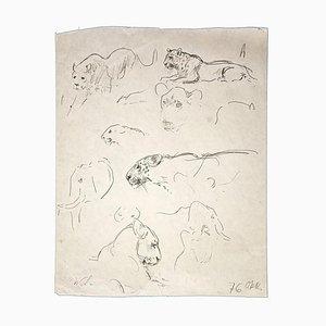Wilhelm Lorenz - Study of Leopard - Pencil Original - 1971