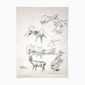 Wilhelm Lorenz - Gazzelle, Gnu, Tiger - Original Pencil - Mid-20th Century
