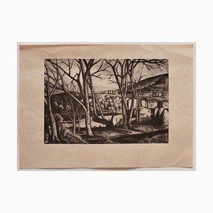 Diego Pettinelli - Landscape - Original Lithograph auf Papier - Mitte des 20. Jahrhunderts