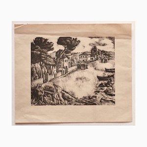 Diego Pettinelli - Landscape - Original Lithograph on Paper - Mid-20th Century
