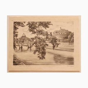 Desconocido - Roma - Castel Sant'angelo - Lápiz y acuarela - Mid-20th Century