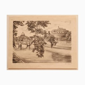 Unknown - Roma - Castel Sant'angelo - Pencil and Watercolor - Mid-20th Century